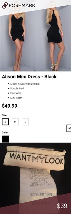 "🆕 ""Alison"" Mini Dress Super sexy little black dress from Want My Look. NWOT. I never wore this dress. There's nothing wrong with it but I have two other dresses similar to it. Features a low draped back and an asymmetrical wrap hem. Skinny straps. Low plunge. Stretches. Size Small.  If you love these brands: 🌸 fashion nova 🌸 missguided 🌸 nasty gal 🌸 tobi 🌸 boohoo 🌸 house of cb You will love this! Dresses Mini"