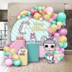 fiesta de 15 aos If you are thinking of throwing a LOL Surprise Birthday Party then this is the post for you. LOL is such an amazingly popular birthday party theme we thought we would c Party Kulissen, Doll Party, Party Ideas, Gift Ideas, Unicorn Birthday Parties, Unicorn Party, Surprise Birthday, 7th Birthday, Surprise Cake