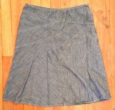 DKNY Donna Karen Blue Denim 100 Cotton A Line Skirt 4 | eBay - Recycled Couture #Fashion #Apparel #Shopping #eBay