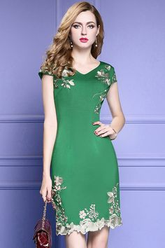 2a8fbd7121aa Green Bodycon Cocktail Dress For Wedding Guest With Cap Sleeves Embroidery   ZL8014 - GemGrace.com