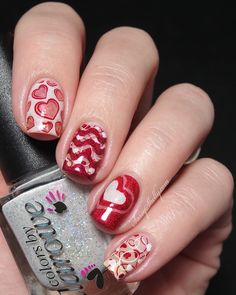 Valentines Day negative space manicure - Heart stamping Pueen and Bundle Monster and Colors by Llarowe  |  Sassy Shelly
