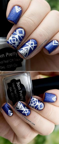 Geometry #nailstamping with silver #stampingpolish, easy to design your nail art  #bornpretty