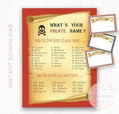 Pirate party decorations Pirate name game name tags
