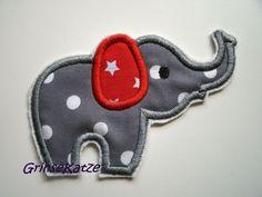 Süße Elefanten - Applikation zum Aufnähen für alles was gepimpt werden soll.  Von Schwanzspitze bis Rüsselende ca.13cm lang und 9cm hoch.  Gestickt...