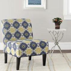 Morrocan Motif Ivory/ Blue Armless Club Chair