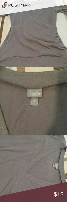 Grey with sparkles small Vanity dressy shirt Small Grey with sparkles dressy Vanity shirt only worn a few times. Cute with jeans Vanity Tops Blouses