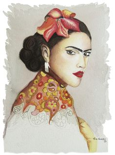 Frida e o xale em Aquarela