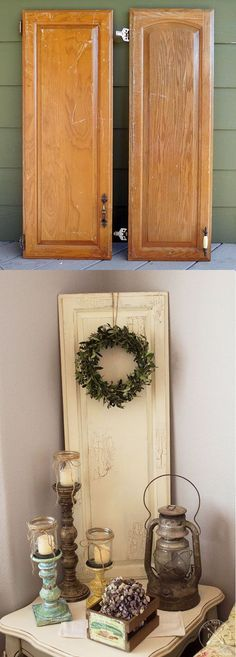 DIY Repurposed Wood Cabinet Doors using Chalk Paint decor ideas diy Recycled Decor, Repurposed Wood, Repurposed Furniture, Repurposed Items, Salvaged Wood, Cabinet Door Crafts, Wood Cabinet Doors, Wooden Doors, Diy Cupboard Doors