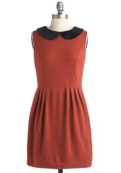 Wallet Portrait Dress - Orange, Black, Solid, Peter Pan Collar, Pleats, Work, Casual, Vintage Inspired, A-line, Sleeveless, Spring, Summer, Fall, Short