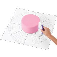 Cake Dividing Chart. This plastic, reusable chart measures precise divisions of iced cakes helping decorators to divide cakes into symmetrical, even divisions. It's also idea for guiding string work, garlands and many other decorating techniques.
