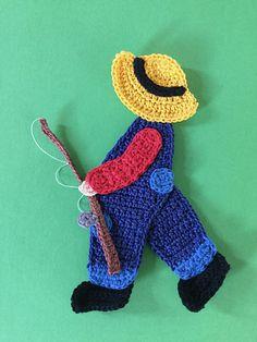 Ravelry: Boy with a Fishing Rod pattern by Kerri Brown Crochet Appliques, Crochet Doll Pattern, Crochet Doilies, Crochet Patterns, Crochet Fish, Crochet Toys, Crochet World, Applique Patterns, Fishing Rod