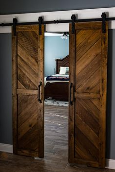 Solid Cypress Sliding Chevron Barn Doors (built to order) - Puertas - Door Design Double Barn Doors, Double Sliding Doors, Sliding Barn Door Hardware, Sliding Wall, Door Hinges, Sliding Cupboard, Cupboard Doors, Sliding Barn Closet Doors, Hanging Sliding Doors