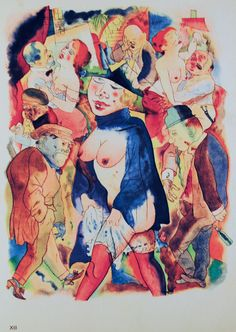 George Grosz, Walzertraum (Walts dream). 1921, Offset color lithograph after a watercolor, 252x194mm. This painting was banned by the Nazi regime and exhibited at the Degenerate art exhibition in Munich in 1937.