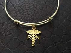 RN Caduceus Charm Bracelet Gold Bangle Expandable Wire Gift Medical Nurse Handmade in USA Trendy
