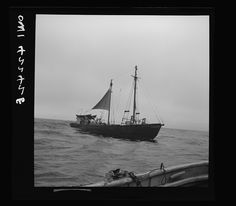 """On board a fishing vessel out from Gloucester, Massachusetts. A Nantucket dragger, or New England otter trawler, the """"Theresa and Dan"""" (?) Photographer Howard Liberman Created September 1942"""