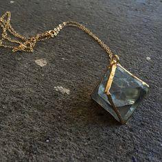 Flourite Gold Plated Pyramid Crystal Pendant // Custom chain length!