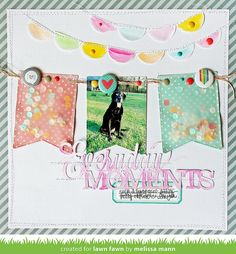 Lawn Fawn - Stitched Party Banners, Let's Polka paper + flair, Hello Sunshine Mixed Sequins, Coral and Gold Sparkle Lawn Trimmings  _ Scrapbook page by Melissaa for Lawn Fawn Design Team