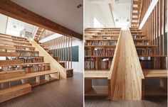 There are a lot of stunning and amazing staircases out there so making a selection is not easy. Yet we find this particular one to be really interesting because it's not only a staircase but also a bookcase. You can sit on the steps and read a book and there's even a built-in slide which makes it a lot more fun.