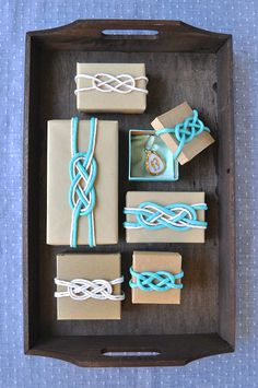 Ribbon wrapped gift boxes