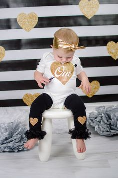 First Birthday Outfit Girl Black Gold Glitter One With Heart Arrow Knotted Gold Headband Gold Heart Leg Warmers Gold First Birthday Outfit by mamabijou on Etsy https://www.etsy.com/listing/243660663/first-birthday-outfit-girl-black-gold