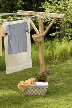 Clothes line..love the way sheets feel and the fresh smell when dried on the line