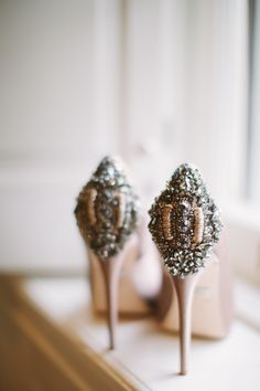 Embellished bridal shoes by Badgley Mischka | Photography: Cmostr Photography - cmostr.com  Read More: http://www.stylemepretty.com/2014/06/11/modern-coastal-newport-wedding/