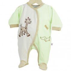 "Pijama ""Mis juguetes"" #pijama #bebe #reciennacido #jirafa #verde #blanco #kinousses"