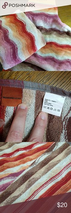 Missoni Home Bath 4 sets of 1 bath and 1 hand 4 sets available - 1 set = 1 bath towel and 1 hand towel. PRICE IS PER SET Very soft and colorful. Washed once but never used. No snags or holes. I will not separate sets. Hand towels = approximately 15.25 x 23.5 inches. Bath towels = 23.25 x 43 inches. Retail for $115 for each set of 1 bath + 1 hand. 100% cotton. NOT FROM TARGET!! Excellent,  like new condition.   I love them, but I bought too many! Missoni Other