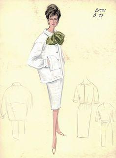 Nina Ricci P/E Croquis des archives Bergdorf Goodman. 60 Fashion, Fashion History, Retro Fashion, Fashion Design, Fashion Tips, Vintage Dress Patterns, Vintage Style Dresses, Vintage Outfits, Vintage Fashion Sketches