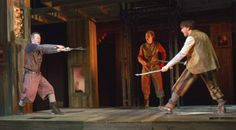 Tybalt (Rex Daugherty, right) duels Mercutio (Brad Koed), with Benvolio (Aaron Bliden) looking on. Romeo and Juliet, directed by Aaron Posner, Folger Theatre, 2013. Photo by Teresa Wood. #Shax450