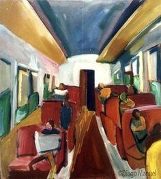 tren de madrugada. Venta de pinturas sobre trenes. Paintings of trains for sale. venda de pinturas de trens.