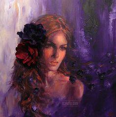 Reverie, acrylic #art #woman #violet