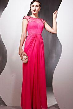 Pink dress with mesh neckline