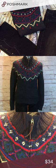 RALPH LAUREN HAND KNITTED ZIP CARDIGAN/CARDIGAN Nice cardigan in black with a full zip and leather zipper pull. Gently used. HIC Ralph Lauren Sweaters Cardigans