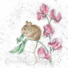 Wrendale Designs Country Set Greeting Card NEW Mouse sweet pea thief Animal Paintings, Animal Drawings, Art Drawings, Watercolor Animals, Watercolor Paintings, Maus Illustration, Wrendale Designs, Whimsical Art, Painting Inspiration
