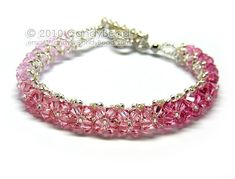 Pink and Rose Swarovski Crystal Bracelet with Silver by candybead