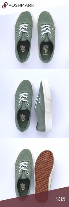 New Vans Sage Green Authentic Never been worn, sage green suede uppers and off white sole. W/O box. Women's size 7 / Men's size 5.5 Vans Shoes Sneakers