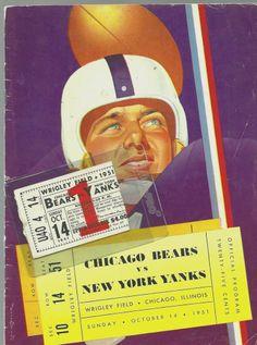 1951 Chicago Bears vs. New York Yankees w/ Wrigley Field Ticket Stub!