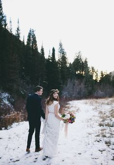 winter bridal photoshoot Jessica Janae mountain bridal shoot, Big messy bouquet, hand dyed ribbon, rustic brial shoot, cutest couple!