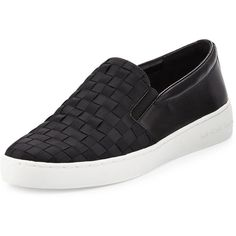 MICHAEL Michael Kors Keaton Woven Slip-On Skate Sneaker (2,155 MXN) ❤ liked on Polyvore featuring shoes, sneakers, black, flat sneakers, black slip on shoes, black shoes, black sneakers and black platform sneakers