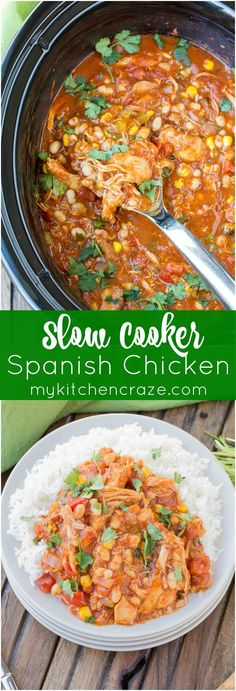 Slow Cooker Spanish Chicken ~ mykitchencraze.com ~ Put everything in the slow…
