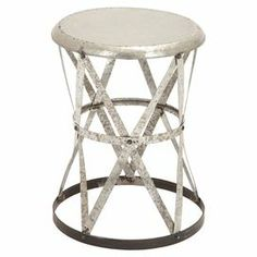 """Weathered iron stool with an openwork lattice design.   Product: StoolConstruction Material: IronColor: Weathered silver and brownDimensions: 19"""" H x 14"""" Diameter"""