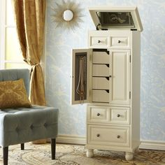 Ashworth Jewelry Armoire - Antique White For the jewels Wooden Standing Mirror, How To Store Scarves, Storing Scarves, Armoire Antique, Computer Armoire, Mirror Jewelry Armoire, Jewellery Storage, Jewellery Box, Diy Jewelry