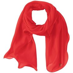 Calvin Klein Solid Chiffon Ruffle Scarf (Watermelon) ($28) ❤ liked on Polyvore featuring accessories, scarves, ruffled shawl, calvin klein, calvin klein scarves, ruffle scarves and chiffon shawl