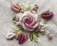 Wonderful Ribbon Embroidery Flowers by Hand Ideas. Enchanting Ribbon Embroidery Flowers by Hand Ideas. Bullion Embroidery, Rose Embroidery, Hand Embroidery Stitches, Silk Ribbon Embroidery, Hand Embroidery Designs, Embroidery Techniques, Cross Stitch Embroidery, Embroidery Supplies, Embroidery Ideas