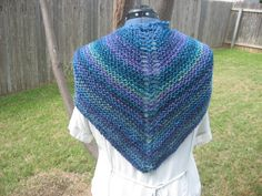 Blue and purple variegated garter stitch by GingerRootKnits, $45.00