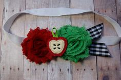 Apple Pie Headband Red and Green Fabric Rose by craftmomof3, $10.95