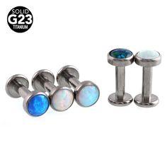 14G G23 Titanium Opal Lip Rings Internal Thread Stud Rings Piercing Labret Opal 4mm Dermal Anchor Tops Body Jewelry