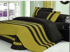Xmas 18'' 5 Pc Stripped Twin Dark Gold & Black Duvet / Quilt Cover Set