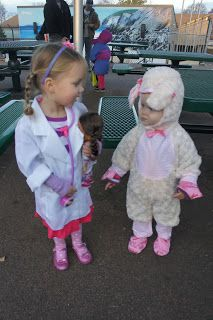 The McRae Family: Halloween is near.Doc McStuffins & Stuffy X 2 are ready to celebrate! Halloween Costumes For Sisters, Sister Costumes, Sibling Costume, Newborn Halloween Costumes, Kids Costumes Girls, First Halloween, Halloween Kids, Halloween Party, Doc Mcstuffins Halloween Costume